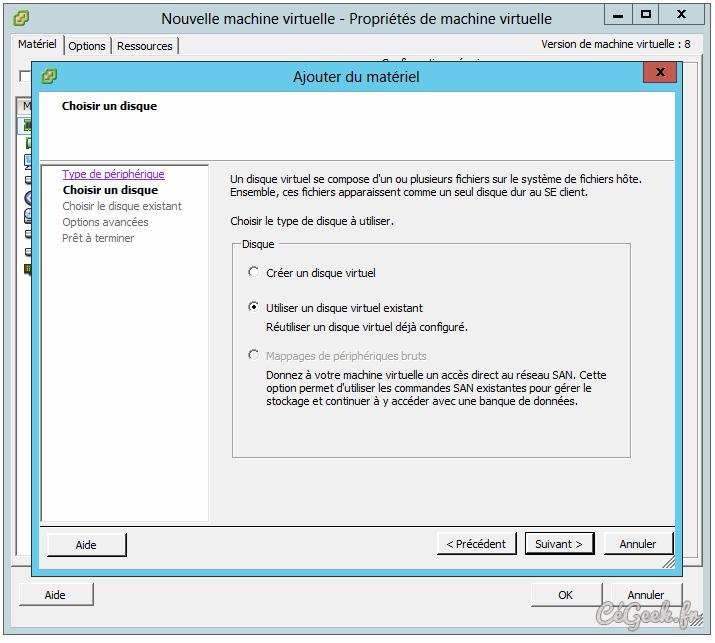 Utiliser un disque virtuel existant