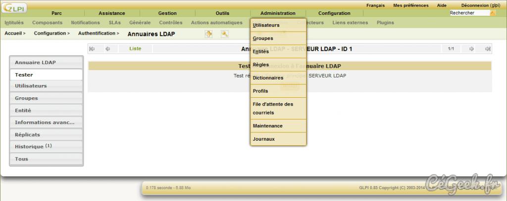 GLPI Ajouter utilisateurs