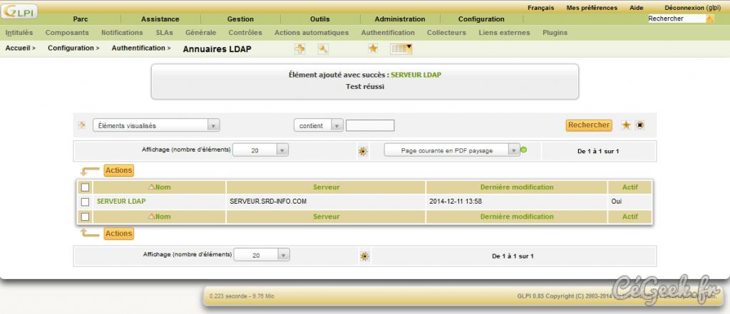 GLPI Liste Serveurs LDAP