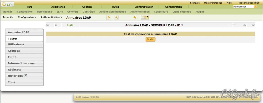 GLPI Tester serveur LDAP